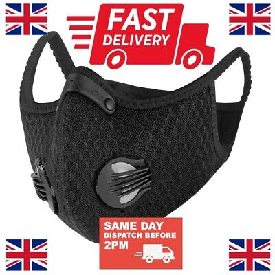 NEW UK STOCK Cycling Sports Face Mask W/ Activated Carbon Filter Anti Pollution