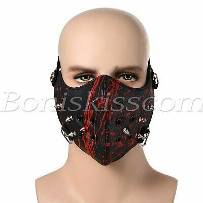 Punk Rivets Shield Anti Dust Pollution Motorcycle Leather Half Face Mouth Cover