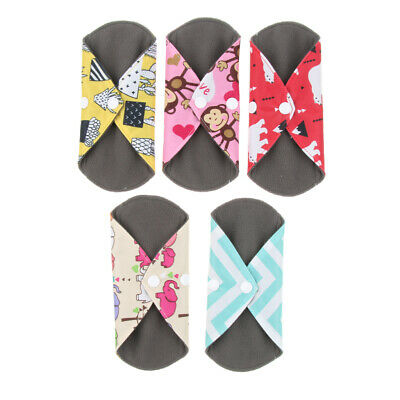 5 Pcs Charcoal Bamboo Reusable Sanitary Pads Towel Mama Cloth Menstrual Pads
