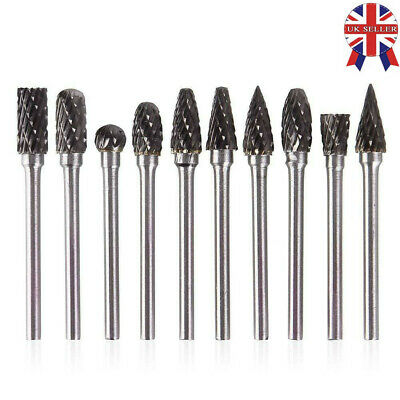 10x Tungsten Steel Solid Carbide Burrs For Dremel Rotary Tool Bit Accessories
