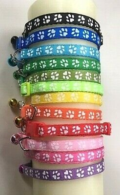 White Paws Reflective Cat Collar with Coloured Bell. 14 COLOUR CHOICES!!