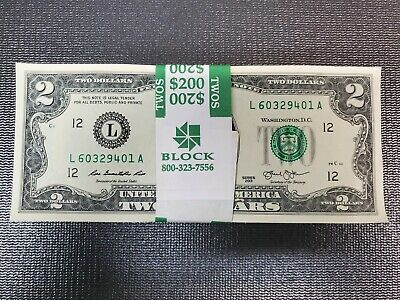 ✯Lot of 5 NEW Uncirculated Two Dollar Bills Crisp $2 Sequential Note 1976-2013✯