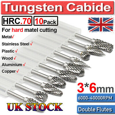 Tungsten Carbide Burr Die Grinding Shank Rotary Drill Bit Set Metal Carving Tool