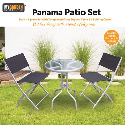 3PC Bistro Set Metal Folding Patio Outdoor Furniture Garden Round Table & Chairs