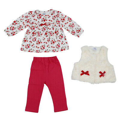 Baby Girl's Clothing Set Floral Tops+Red Pants+White Vest Kids Clothes Sets Q2H2