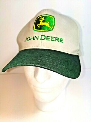 John Deere Adjustable Ball Cap Hat Tan Green Embroidered Snapback One Size EUC