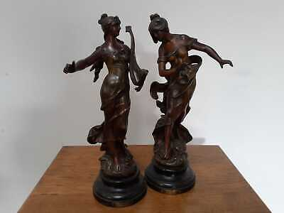 Pair of French spelter Art Nouveau figures