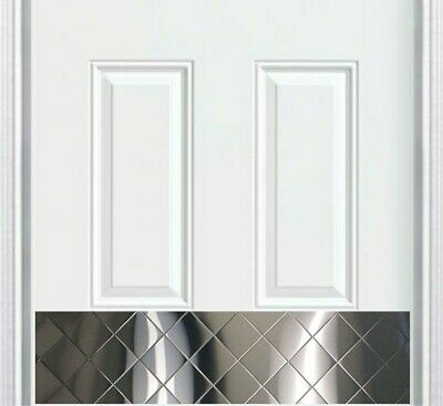 Quilted Chrome Stainless Steel Screw Mount Door Kick Plate 8x34in.