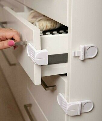 DreamBaby Angle Locks Cupboard and Appliances Lock Safety Latch 4 pack White