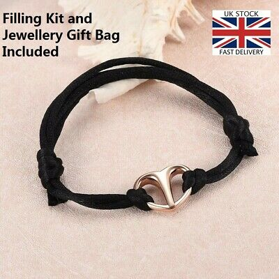 Silk Cord Heart Bracelet Jewellery Cremation Urn Pendant Ashes Funeral Memorial.