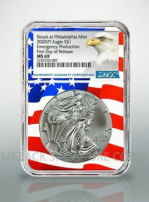 2020 (P) $1 American Silver Eagle NGC MS69 Emergency Release Flag Core Label