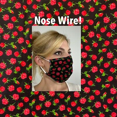 Roses Black Cotton Face Mask Handmade Fabric Washable Reusable wire nose Reuse