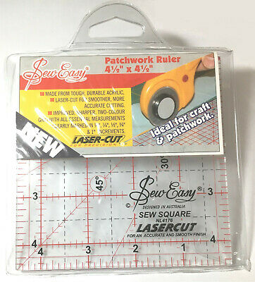 """Sew Easy Patchwork Ruler 4 1/2"""" x 4 1/2"""" Laser Cut Quilting Patchwork"""