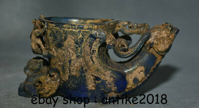 "6"" Collect Old Chinese Blue Coloured Glaze Dynasty Dragon Phoenix Drinking Cup"