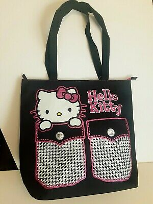SANRIO Hello Kitty Black  Canvas Tote Bag Dance bag Overnight Bag Nwt