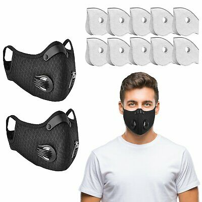 2PCS Half Face Shield +10pcs Filter Activate Carbon Anti Dust Fog Mouth Cover