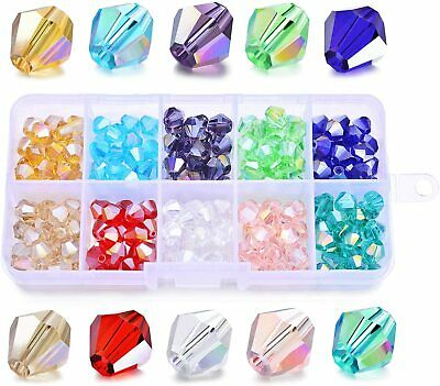 200Pcs 8mm Bicone Crystal Glass Beads Faceted Loose Beads Set Kits for Jewelry