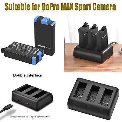 For GoPro MAX Sport Camera Full Decode Battery 3 Channels Charger Charging Hub