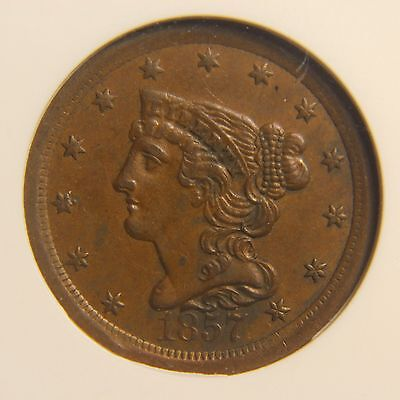1857 Braided Hair Half Cent, C-1, AU-50