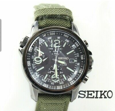 Mens Seiko Prospex Solar Chronograph Black Dial/Green Band Watch - V172-0AL0