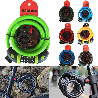 Bike Lock Cable Bicycle Anti-theft Passwords Cable Lock 5 Digit Combination