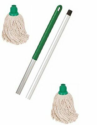 Crown Supplies Professional Colour Coded Mop Handle and 2 Mop Heads - Colour ...