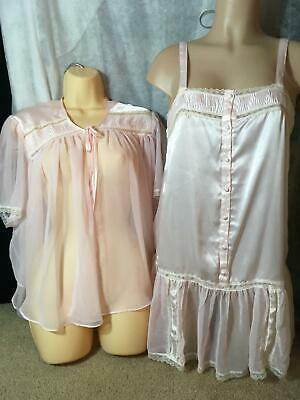 Vtg VICTORIA'S SECRET Pink SATIN Chiffon Nightgown BED JACKET Set Babydoll M