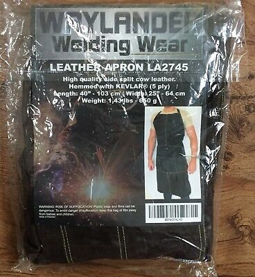 Waylander Welding Leather Apron LA2745 Hemmed With Kevlar / Quality Cow Leather