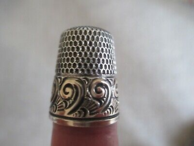 Antique Thimble Simons Bros Sterling Silver & Gold Plate Size 10 *Circa 1880s