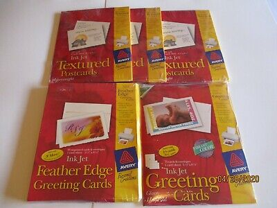 5 Packs Avery Textured Post Cards(#3380)/Greeting Cards(#3269)/Feather Edge Card