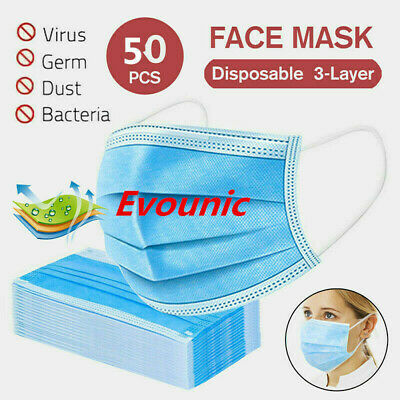 50 PCS 3 Ply Face Mask medical Dental Disposable face masks Ear-loop Mouth Cover