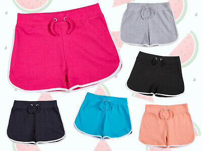 New Girls 100% Cotton Jersey Shorts Hotpants Summer Holiday Sporty Casual Shorts