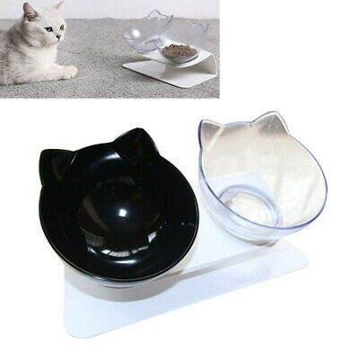 Pet Food Double Bowl Stand Cat Dog Dual Water Feeding Bowl Raised Elevated Angle