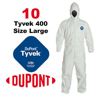 PACK OF 10 LARGE DuPont Tyvek 400 TY127S Coveralls, Hood, Elastic Ankle & Wrist