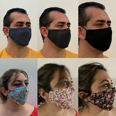 Face Mask With Filter 100%  Cotton Fabric Washable High Quality