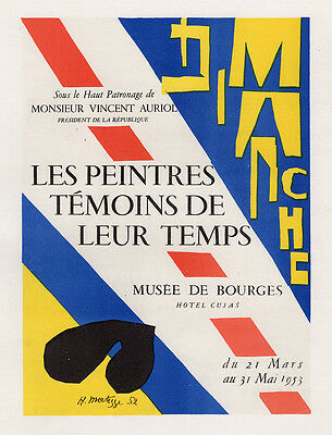 "MATISSE Antique Exhibition Poster Painters Witnesses of  Time"" SIGNED Framed COA"