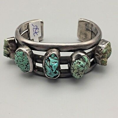 Heavy! A Vintage Turquoise and Sterling Silver Cuff Bracelet - Older!