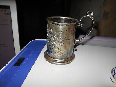 Antique Engraved Christening Baby Mug Cup Robson 1889~Swan Finial~Victorian~