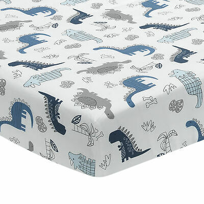 Lambs & Ivy Baby Dino 100% Cotton Blue/White/Gray Dinosaur Fitted Crib Sheet