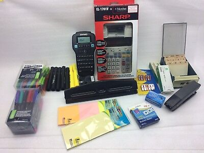 Junk Drawer Office DYMO, Sharp printing cal, pens, markers,hole punch,stapler