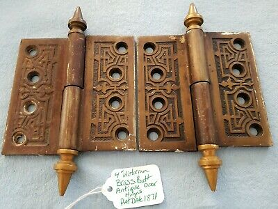 "4"" Victorian Bronze & Brass Steeple Butt Antique Door Hinges - 1 Pair - 1871"