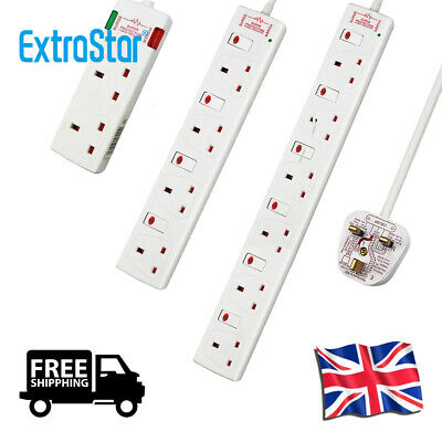 ExtraStar 2 / 4 / 6 Gang/Way Extension Lead White W/Switched and Surge Protected