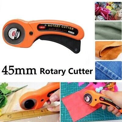 45mm Rotary Cutter Sewing Quilters Fabric Leather Cutting Tool + 1Pc Scale Blade
