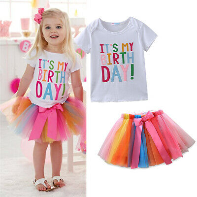 Baby Girls It's My Birthday Unicorn Princess Party Dress Tulle Tutu Skirt Outfit