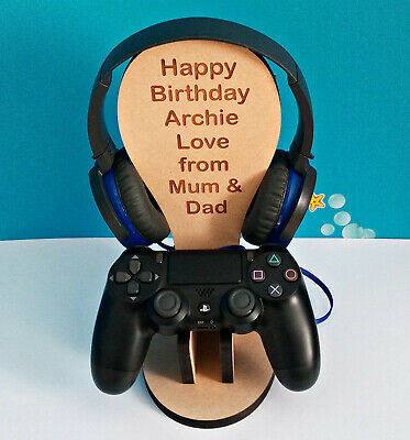 Personalised PS4 game Controller & Headset holder stand PlayStation Birthdaygift