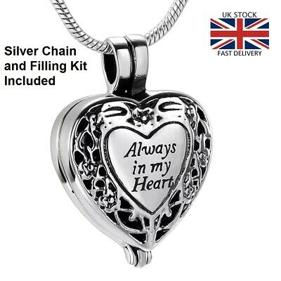 Always in my Heart Locket Jewellery Cremation Urn Pendant Ashes Necklace