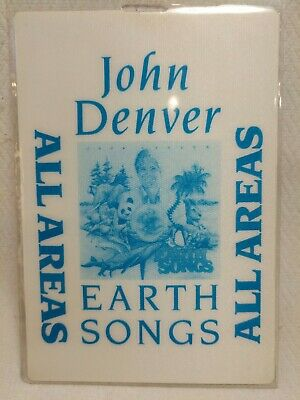 John Denver 1990 Earth Songs All Areas Pass Laminated Has Name on Back - Chris