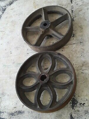Pair of Authentic Lineberry and Towsley Cart  Cast Iron Wheels