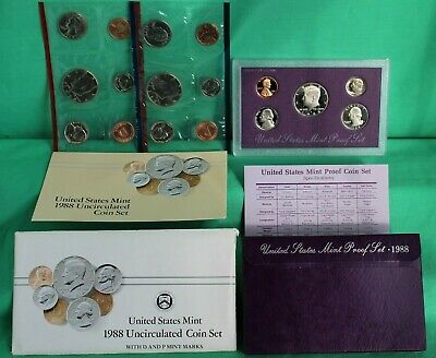 1990 P D S Proof and Uncirculated Annual US Mint Coin Sets 15 Coins Bundle PDS