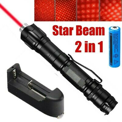 900Miles Red Laser Pointer Star Cap Lazer+Belt Clip+Charger+Rechargeable Battery